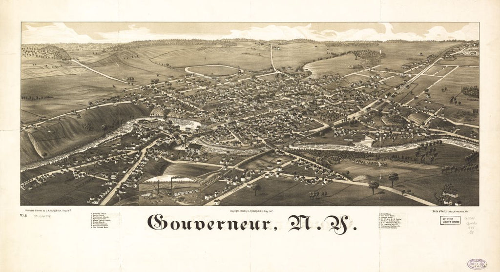8 x 12 Reproduced Photo of Vintage Old Perspective Birds Eye View Map or Drawing of: Gouverneur, N.Y. Burleigh, L. R. (Lucien R.) - Beck & Pauli - Burleigh, L. R. 1885