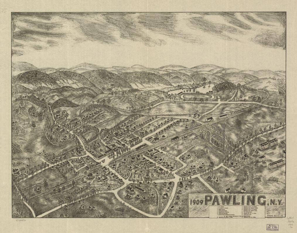 8 x 12 Reproduced Photo of Vintage Old Perspective Birds Eye View Map or Drawing of: 1909 Pawling, N.Y. Smith, P. H. - Tice, W. G. - Knickerbocker Litho. Co. 1909