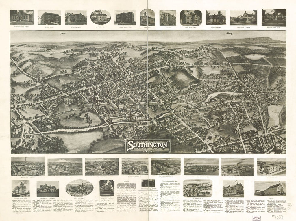8 x 12 Reproduced Photo of Vintage Old Perspective Birds Eye View Map or Drawing of: Southington, Connecticut 1914.   Hughes & Bailey  1914