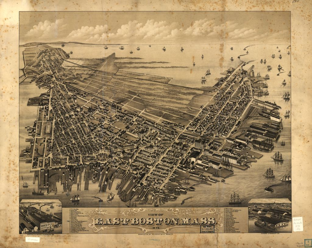 8 x 12 Reproduced Photo of Vintage Old Perspective Birds Eye View Map or Drawing of: East Boston, Mass. 1879.  O.H. Bailey & Co.  1879