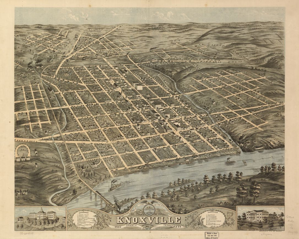8 x 12 Reproduced Photo of Vintage Old Perspective Birds Eye View Map or Drawing of: Knoxville, Knox County, Tennessee 1871. Ruger, A.Merchant's Lithographing Company. 1871