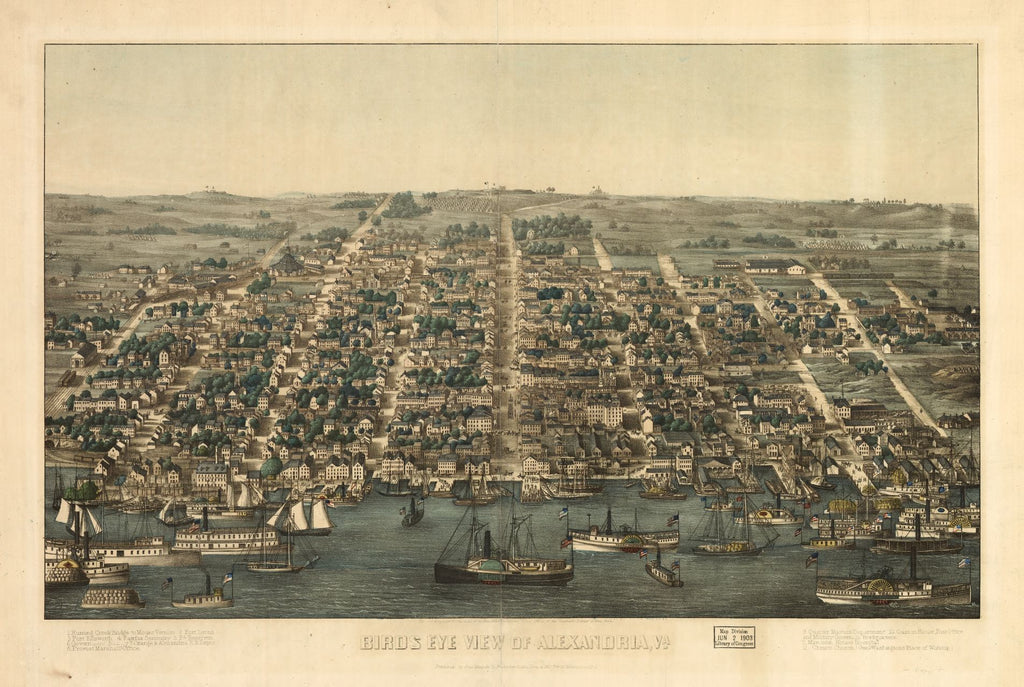 8 x 12 Reproduced Photo of Vintage Old Perspective Birds Eye View Map or Drawing of: Alexandria, Va. Magnus, Charles. 1863