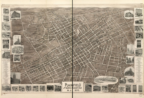 8 x 12 Reproduced Photo of Vintage Old Perspective Birds Eye View Map or Drawing of: Plainfield and North Plainfield, N.J. 1899. Landis and Hughes 1899