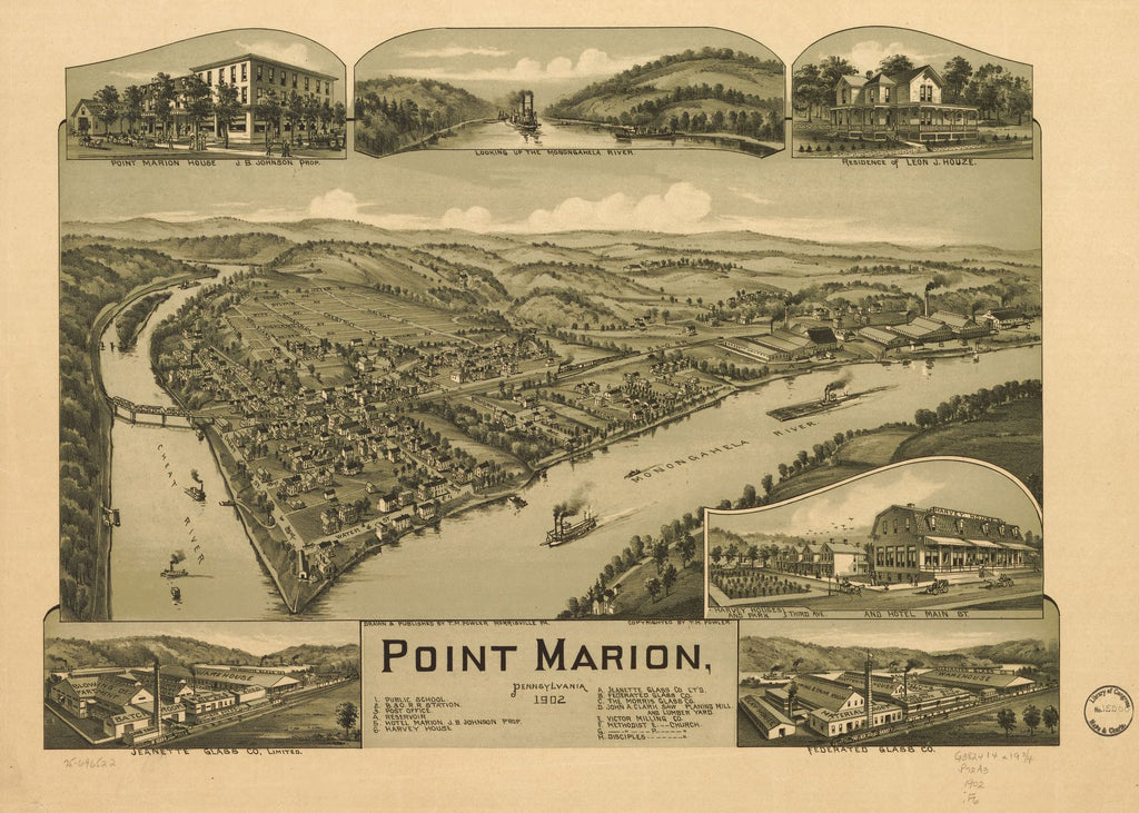 8 x 12 Reproduced Photo of Vintage Old Perspective Birds Eye View Map or Drawing of: Point Marion, Pennsylvania 1902. Fowler, T. M. - Fowler, T. M. 1902