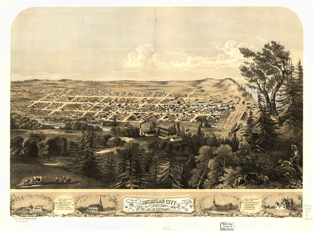 8 x 12 Reproduced Photo of Vintage Old Perspective Birds Eye View Map or Drawing of: Michigan City, LaPorte County, Ind. 1869. Ruger, A. 1868