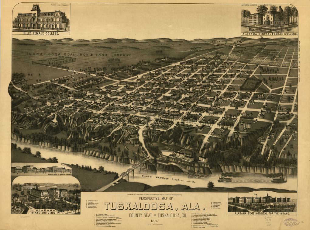 8 x 12 Reproduced Photo of Vintage Old Perspective Birds Eye View Map or Drawing of: Tuskaloosa, Ala. county seat of Tuskaloosa, Co. 1887. Wellge, H. (Henry)Beck & Pauli.Henry Wellge & Co. 1887