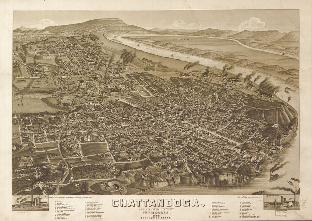 8 x 12 Reproduced Photo of Vintage Old Perspective Birds Eye View Map or Drawing of: Chattanooga, county seat of Hamilton County, Tennessee 1886. Wellge, H. (Henry)Beck & Pauli.Norris, Wellge & Co. 1886