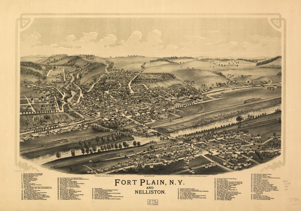 8 x 12 Reproduced Photo of Vintage Old Perspective Birds Eye View Map or Drawing of: Fort Plain, N.Y. and Nelliston. Burleigh, L. R. (Lucien R.) - Burleigh Litho - Burleigh, L. R. 1891