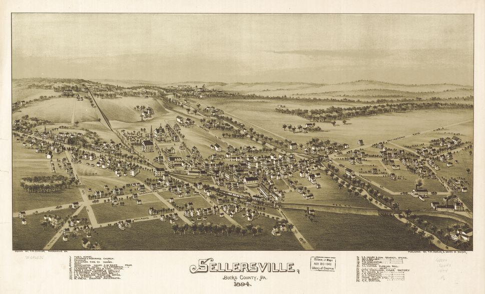 8 x 12 Reproduced Photo of Vintage Old Perspective Birds Eye View Map or Drawing of: Sellersville, Bucks County, Pa. 1894.  Fowler, T. M. - Moyer, James - Fowler, T. M.  1894