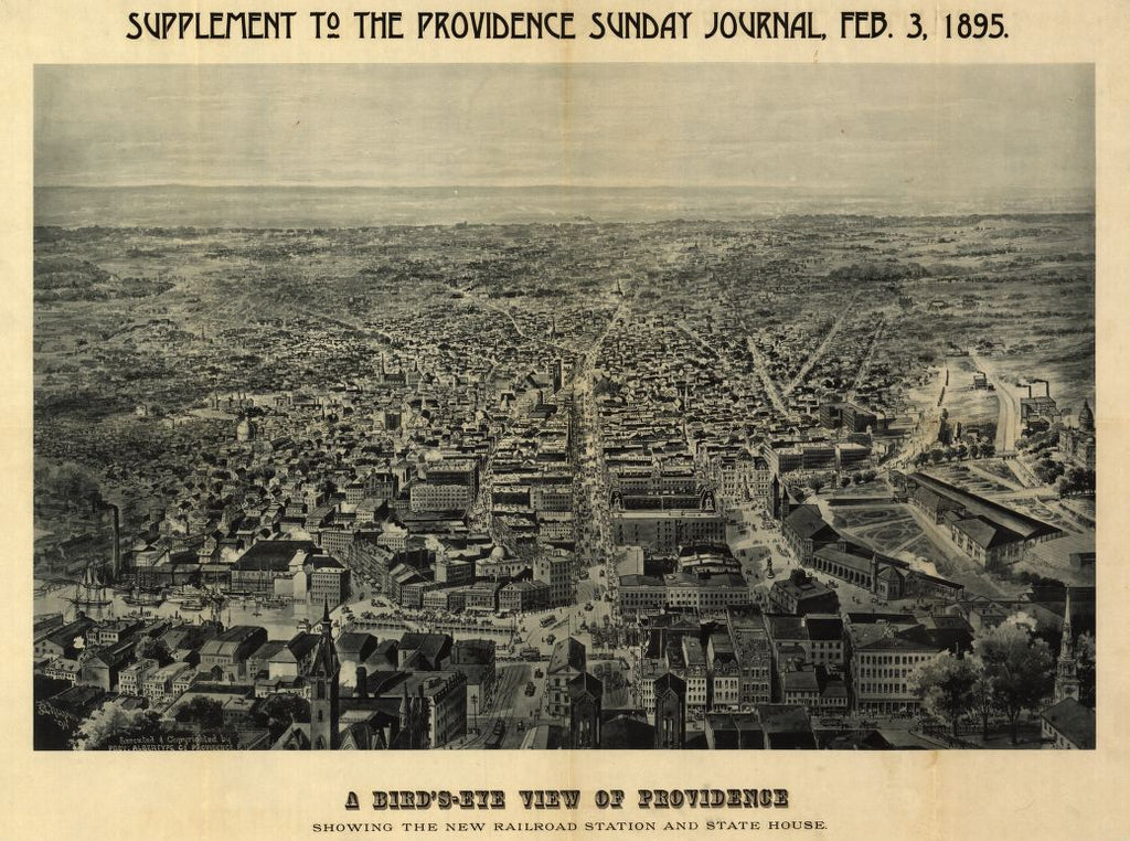 8 x 12 Reproduced Photo of Vintage Old Perspective Birds Eye View Map or Drawing of: A bird's-eye Providence : showing the new railroad station and State House  Chapin, J. R.  1894