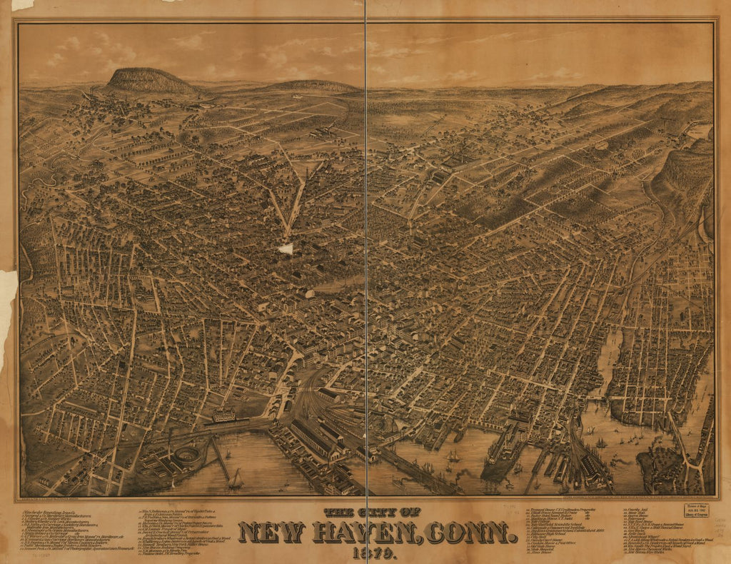 8 x 12 Reproduced Photo of Vintage Old Perspective Birds Eye View Map or Drawing of: New Haven, Conn. 1879.  Bailey, O. H. (Oakley Hoopes) - Hazen, J. C. - Bailey, O. H.  1879