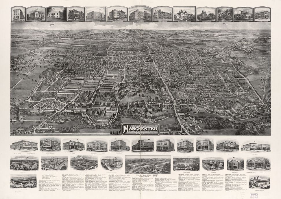 8 x 12 Reproduced Photo of Vintage Old Perspective Birds Eye View Map or Drawing of: Manchester, Connecticut 1914.  Hughes & Bailey  1914