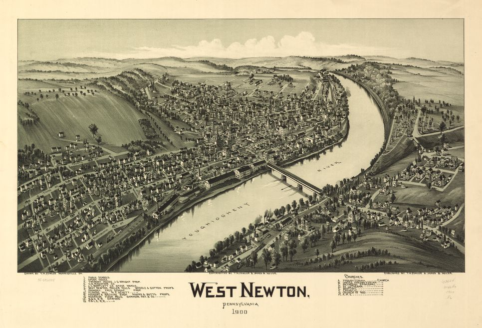 8 x 12 Reproduced Photo of Vintage Old Perspective Birds Eye View Map or Drawing of: West Newton, Pennsylvania 1900.  Fowler, T. M. - Moyer, James - Fowler, T. M.  1900