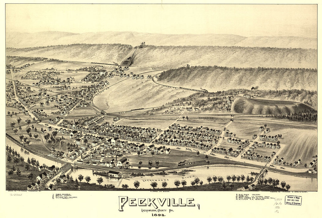 8 x 12 Reproduced Photo of Vintage Old Perspective Birds Eye View Map or Drawing of: Peckville, Lackawanna County, Pa. 1892. Fowler, T. M. - Downs, A. E. (Albert E.) - Moyer, James - Fowler, T. M. 1892