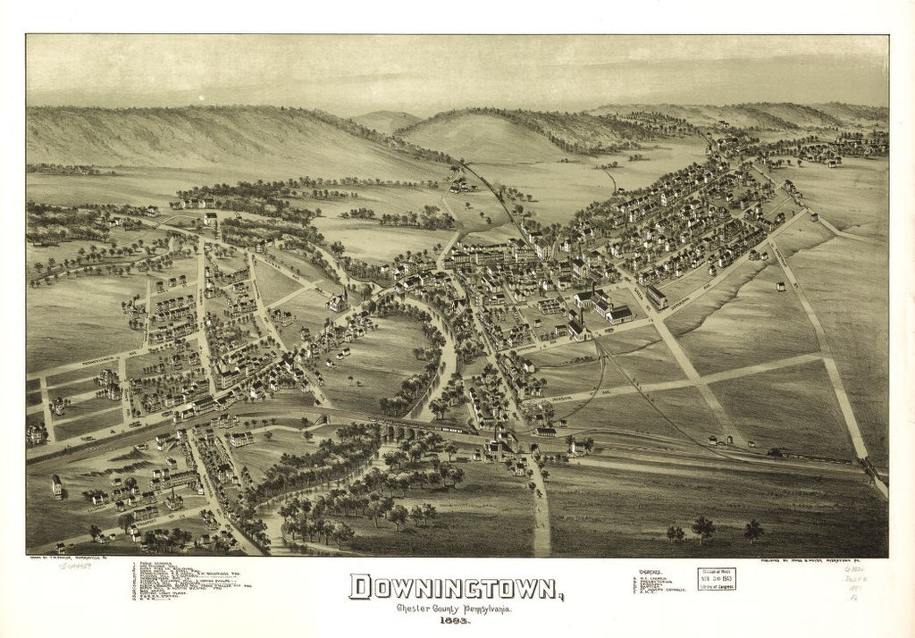 8 x 12 Reproduced Photo of Vintage Old Perspective Birds Eye View Map or Drawing of: Downingtown, Chester County, Pennsylvania 1893. Fowler, T. M. - Moyer, James - Fowler, T. M. 1893
