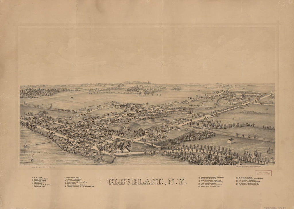 8 x 12 Reproduced Photo of Vintage Old Perspective Birds Eye View Map or Drawing of: Cleveland, N.Y.  Burleigh, L. R. (Lucien R.) - Burleigh Litho - Burleigh, L. R.  1890