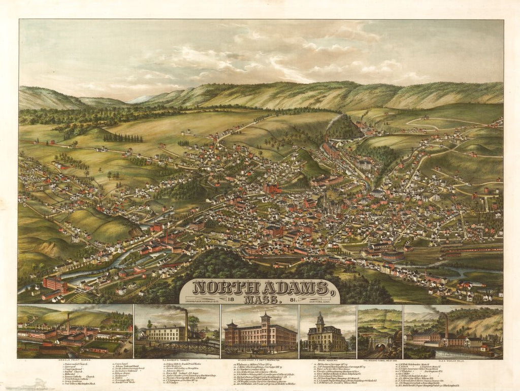 8 x 12 Reproduced Photo of Vintage Old Perspective Birds Eye View Map or Drawing of: North Adams, Mass.  H.H. Rowley & Co.  1881