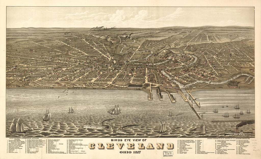 8 x 12 Reproduced Photo of Vintage Old Perspective Birds Eye View Map or Drawing of: Cleveland, Ohio 1877. Ruger, A. 1877