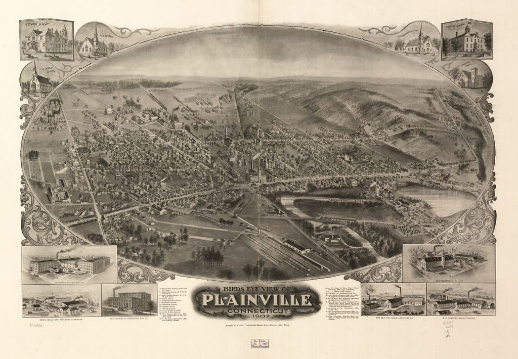 8 x 12 Reproduced Photo of Vintage Old Perspective Birds Eye View Map or Drawing of: Plainville, Connecticut 1907.  Bailey, O. H. (Oakley Hoopes) - Hughes & Bailey - Bailey, O. H 1907