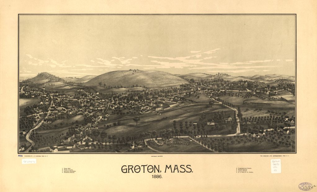 8 x 12 Reproduced Photo of Vintage Old Perspective Birds Eye View Map or Drawing of: Groton, Mass. 1886.  Burleigh, L. R. (Lucien R.) - Burleigh Litho - Burleigh, L. R.  1886