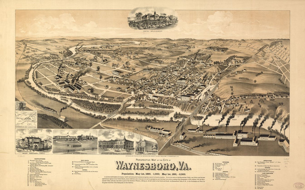 8 x 12 Reproduced Photo of Vintage Old Perspective Birds Eye View Map or Drawing of: Waynesboro, Va. American Publishing Co. (Milwaukee, Wis. 1891?