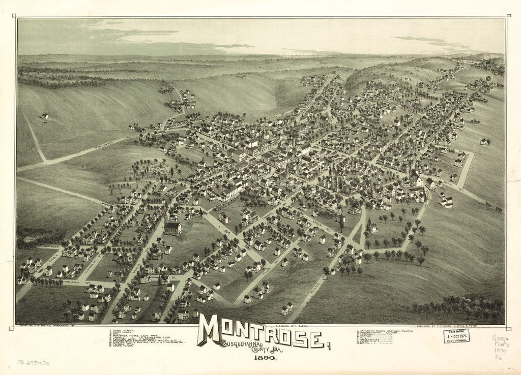 8 x 12 Reproduced Photo of Vintage Old Perspective Birds Eye View Map or Drawing of: Montrose, Susquehanna County, Pa. Fowler, T. M. - Downs, A. E. (Albert E.) - Moyer, James - Fowler, T. M. 1890