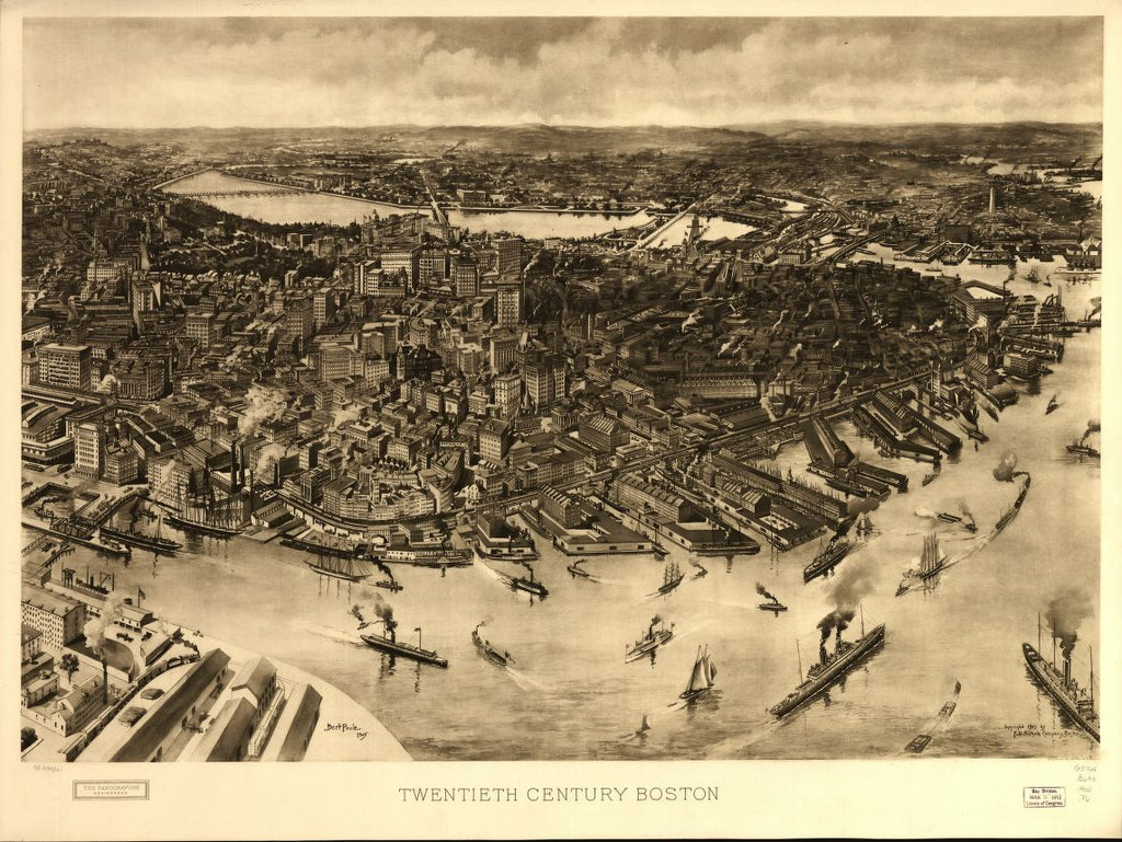 8 x 12 Reproduced Photo of Vintage Old Perspective Birds Eye View Map or Drawing of: Twentieth century Boston.  Twentieth century Boston.  1905