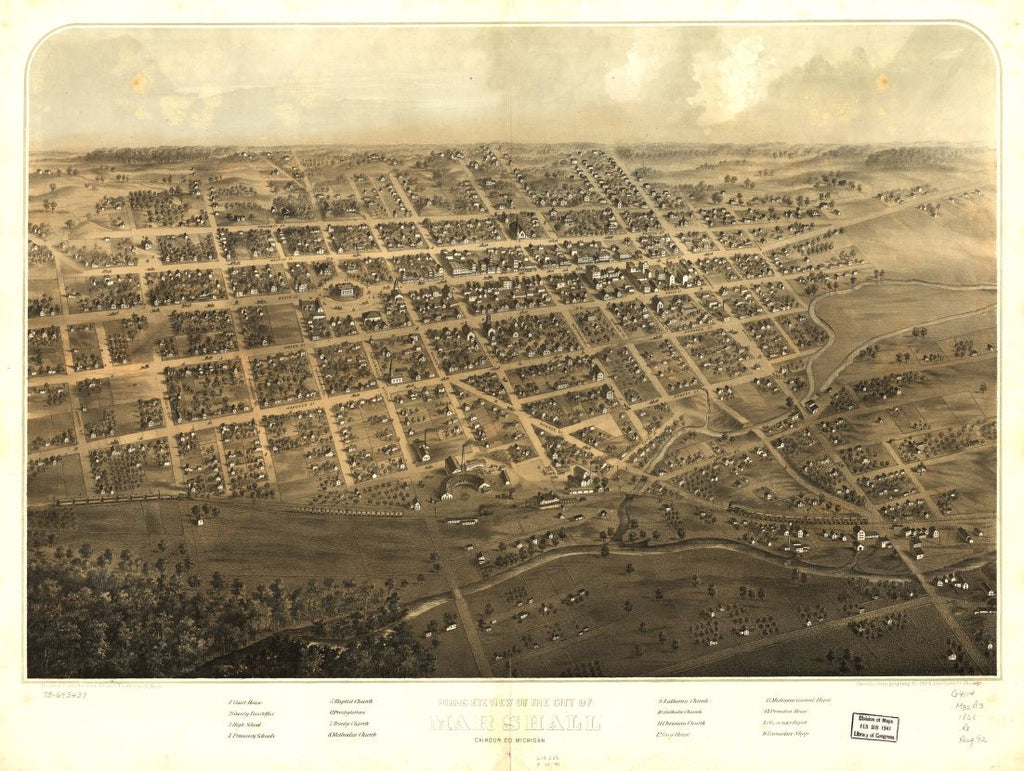 8 x 12 Reproduced Photo of Vintage Old Perspective Birds Eye View Map or Drawing of: Marshall, Calhoun Co., Michigan. Ruger, A. 1868?