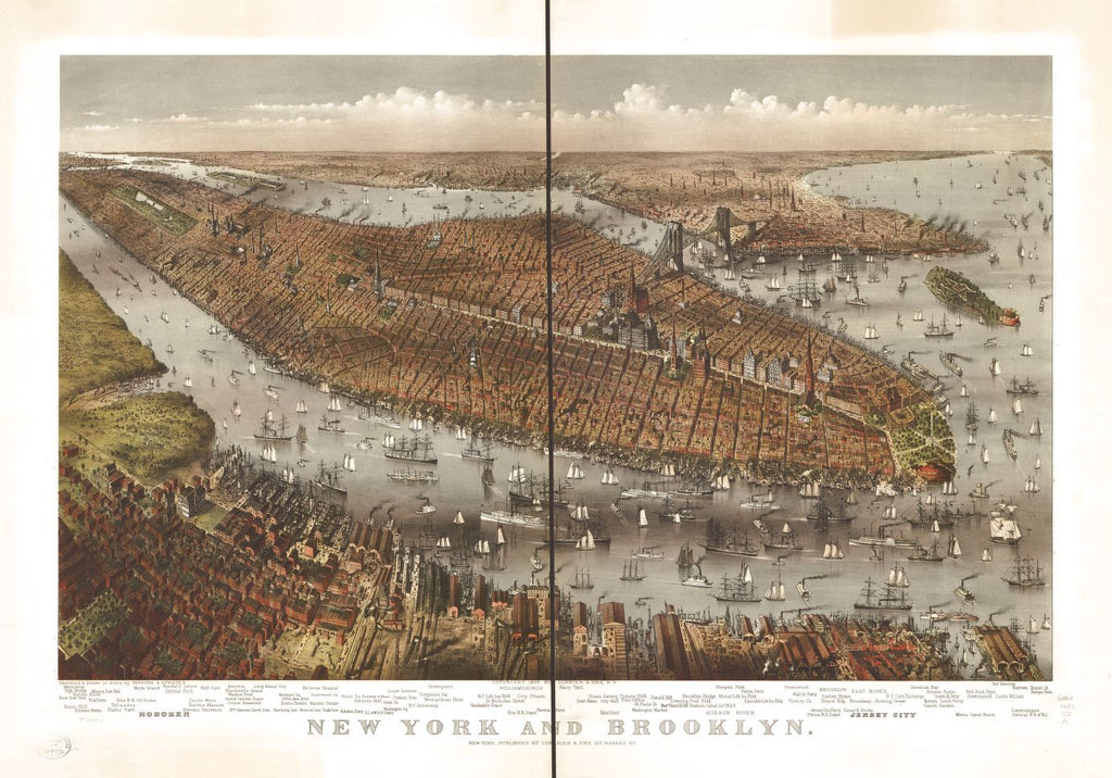 8 x 12 Reproduced Photo of Vintage Old Perspective Birds Eye View Map or Drawing of: New York and Brooklyn. Parsons & Atwater - Currier & Ives 1875