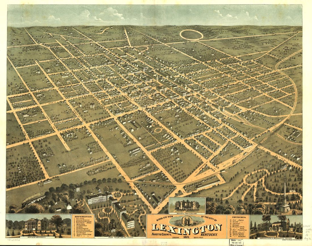 8 x 12 Reproduced Photo of Vintage Old Perspective Birds Eye View Map or Drawing of: Lexington, Fayette County, Kentucky 1871. Ruger, A.Ehrgott & Krebs Lith. 1871