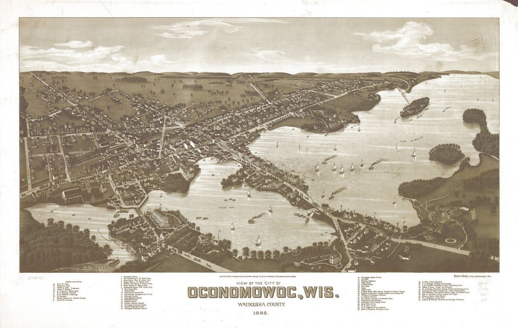 8 x 12 Reproduced Photo of Vintage Old Perspective Birds Eye View Map or Drawing of: Oconomowoc, Wis. Waukesha County 1885. Wellge, H. (Henry) 1885