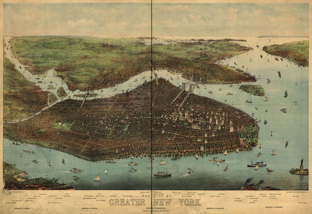 8 x 12 Reproduced Photo of Vintage Old Perspective Birds Eye View Map or Drawing of: greater New York / [...] Charles Hart. none 1905