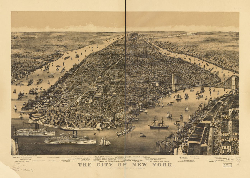 8 x 12 Reproduced Photo of Vintage Old Perspective Birds Eye View Map or Drawing of: New York. Parsons & Atwater - Currier & Ives 1889