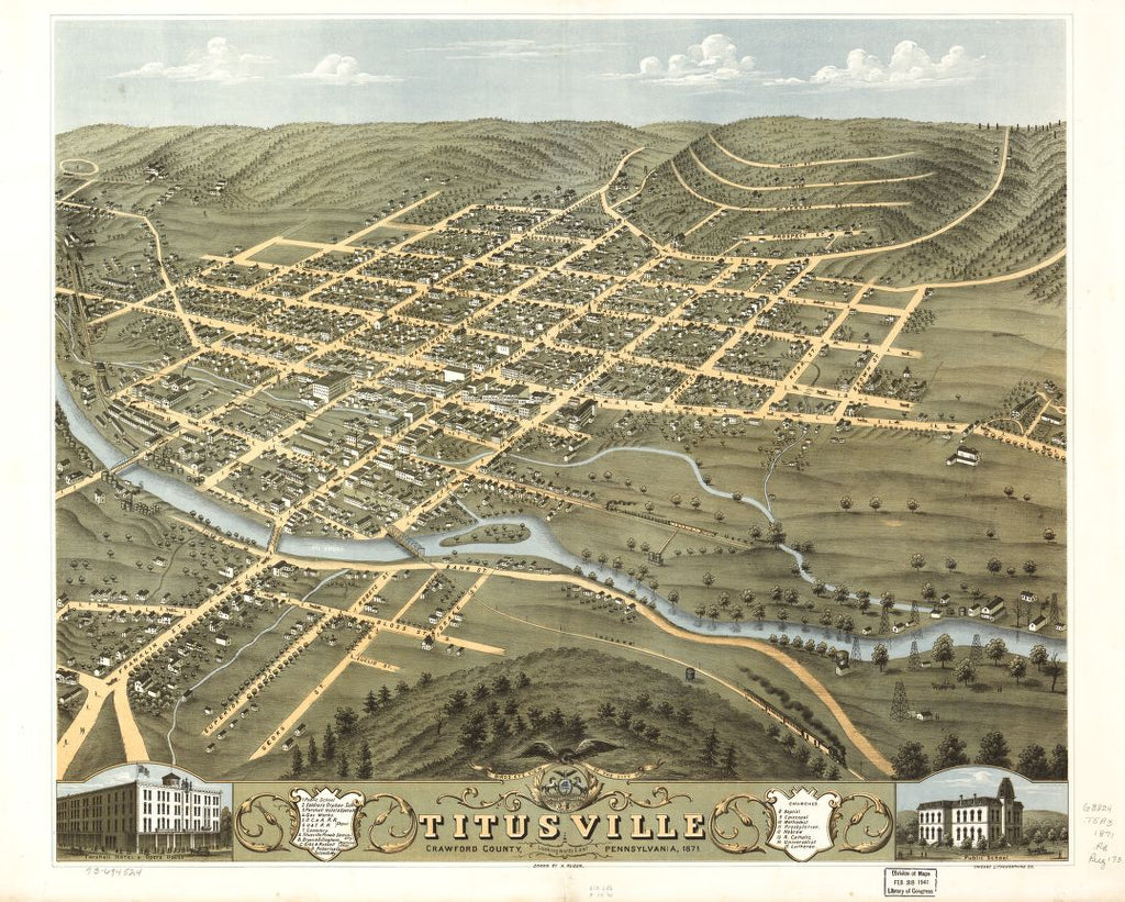 8 x 12 Reproduced Photo of Vintage Old Perspective Birds Eye View Map or Drawing of: Titusville, Crawford County, Pennsylvania 1871.   Ruger, A. - Chicago Lithographing Co.  1871