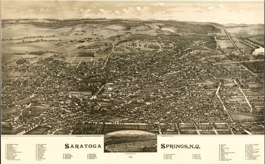 8 x 12 Reproduced Photo of Vintage Old Perspective Birds Eye View Map or Drawing of: Saratoga Springs, N.Y. 1888. Burleigh, L. R. (Lucien R.) - Burleigh Litho - Burleigh, L. R. 1888
