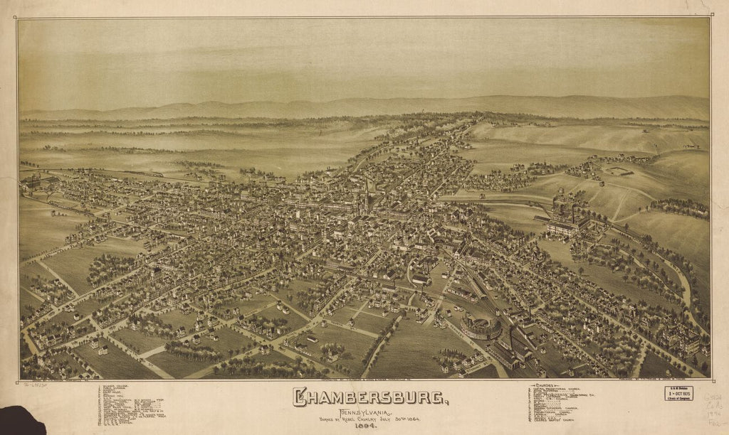 8 x 12 Reproduced Photo of Vintage Old Perspective Birds Eye View Map or Drawing of: Chambersburg, Pennsylvania, burned by rebel cavalry July 30th 1864. Fowler, T. M. - Moyer, James - Fowler, T. M. 1894