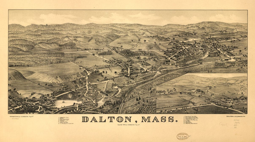8 x 12 Reproduced Photo of Vintage Old Perspective Birds Eye View Map or Drawing of: Dalton, Mass.   Burleigh, L. R. (Lucien R.) - Beck & Pauli - Burleigh, L. R.  1884