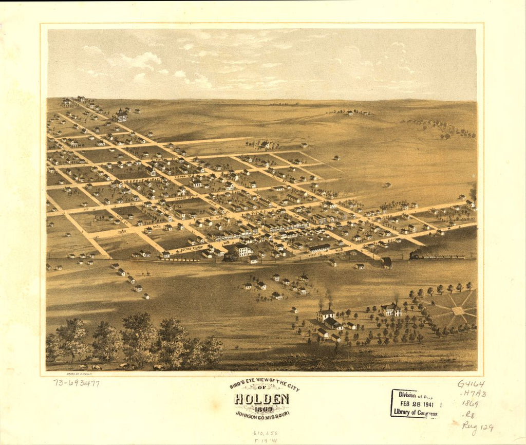 8 x 12 Reproduced Photo of Vintage Old Perspective Birds Eye View Map or Drawing of: Holden, Johnson Co., Missouri 1869. Ruger, A. 1869