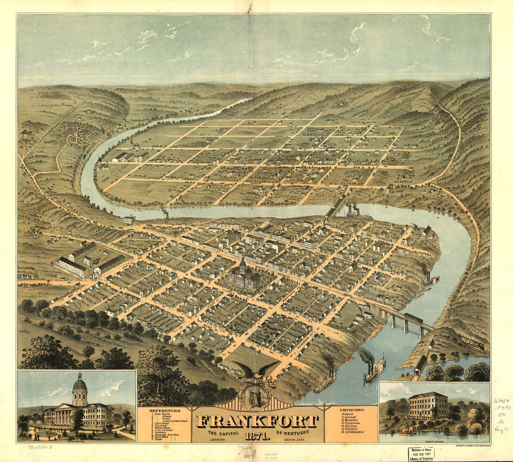 8 x 12 Reproduced Photo of Vintage Old Perspective Birds Eye View Map or Drawing of: Frankfort, the capital of Kentucky 1871. Ruger, A.Ehrgott & Krebs Lith. 1871