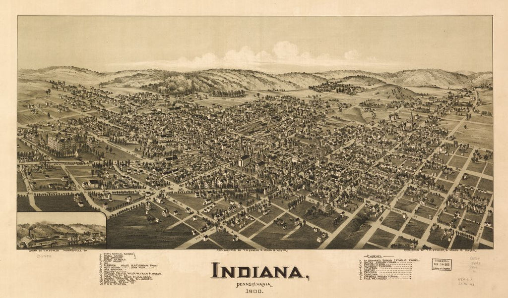 8 x 12 Reproduced Photo of Vintage Old Perspective Birds Eye View Map or Drawing of: Indiana, Pennsylvania, 1900. Fowler, T. M. - Moyer, James - Fowler, T. M. 1900