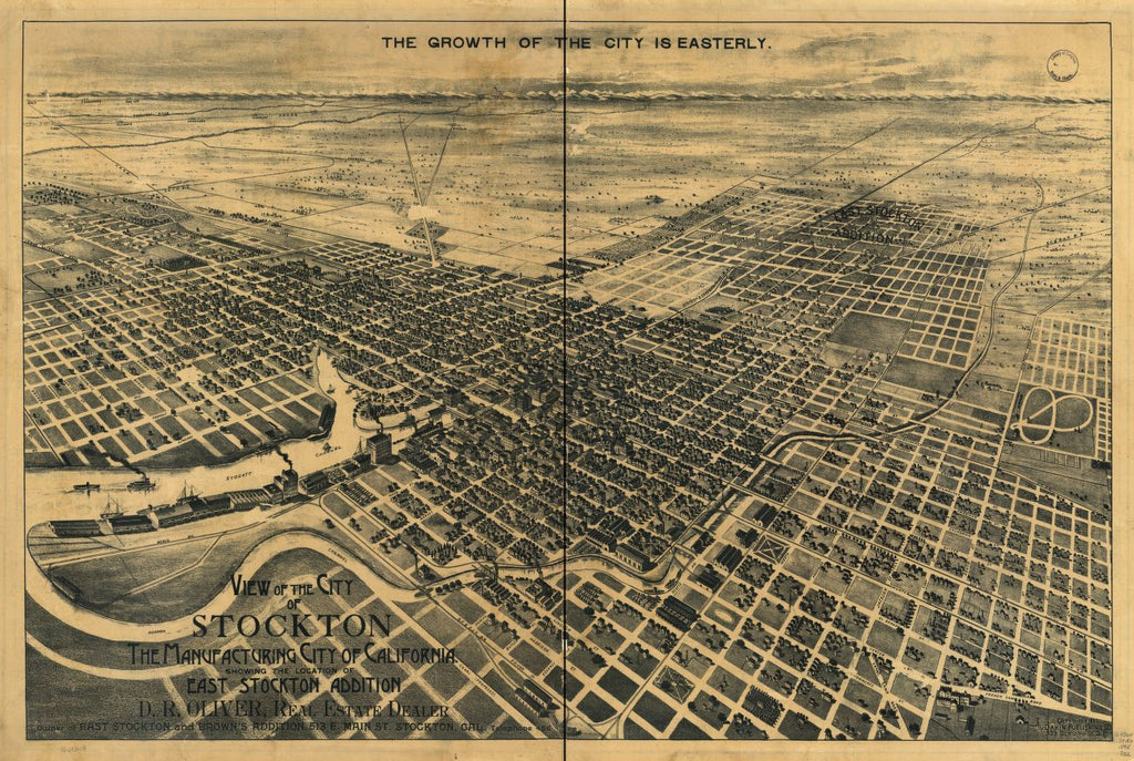 8 x 12 Reproduced Photo of Vintage Old Perspective Birds Eye View Map or Drawing of: Stockton, the Manufacturing California. Showing the location of East Stockton addition. Dakin Publishing Co. c1895