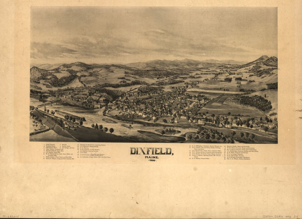 8 x 12 Reproduced Photo of Vintage Old Perspective Birds Eye View Map or Drawing of: Dixfield, Maine, 1896.  None 1896