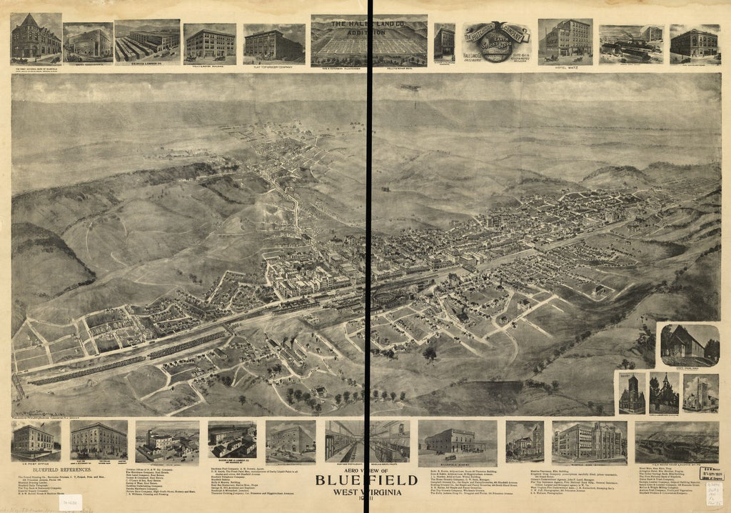8 x 12 Reproduced Photo of Vintage Old Perspective Birds Eye View Map or Drawing of: Bluefield, West Virginia 1911 Fowler & Basham 1911