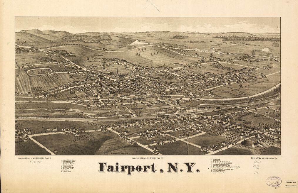 8 x 12 Reproduced Photo of Vintage Old Perspective Birds Eye View Map or Drawing of: Fairport, N.Y.  Burleigh, L. R. (Lucien R.) - Beck & Pauli - Burleigh, L. R.  1885