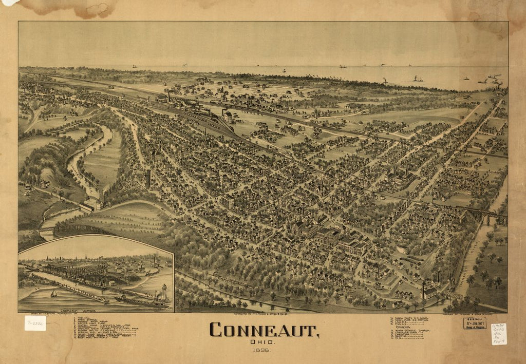 8 x 12 Reproduced Photo of Vintage Old Perspective Birds Eye View Map or Drawing of: Conneaut, Ohio 1896 Fowler, T. M. (Thaddeus Mortimer), 1896