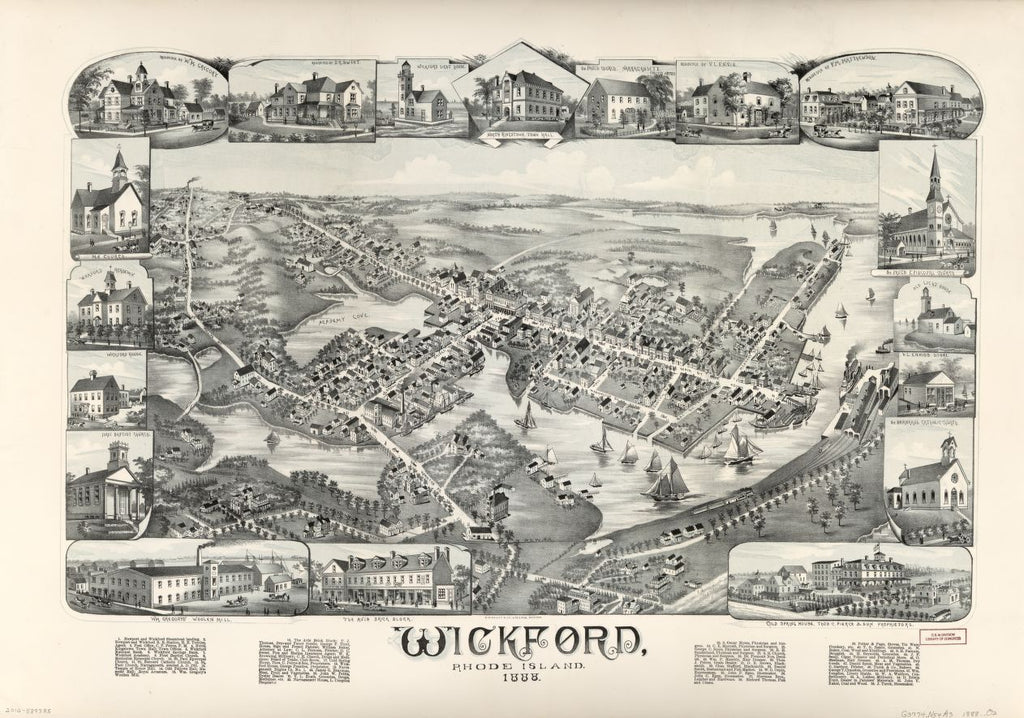 8 x 12 Reproduced Photo of Vintage Old Perspective Birds Eye View Map or Drawing of: Wickford, Rhode Island, 1888.  O.H. Bailey & Co.  1888