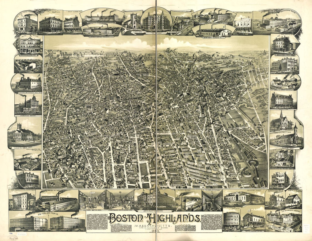 8 x 12 Reproduced Photo of Vintage Old Perspective Birds Eye View Map or Drawing of: Boston Highlands, Massachusetts. Wards 19, 20, 21 & 22 of Boston.   Favour - O.H. Bailey & Co.  1888