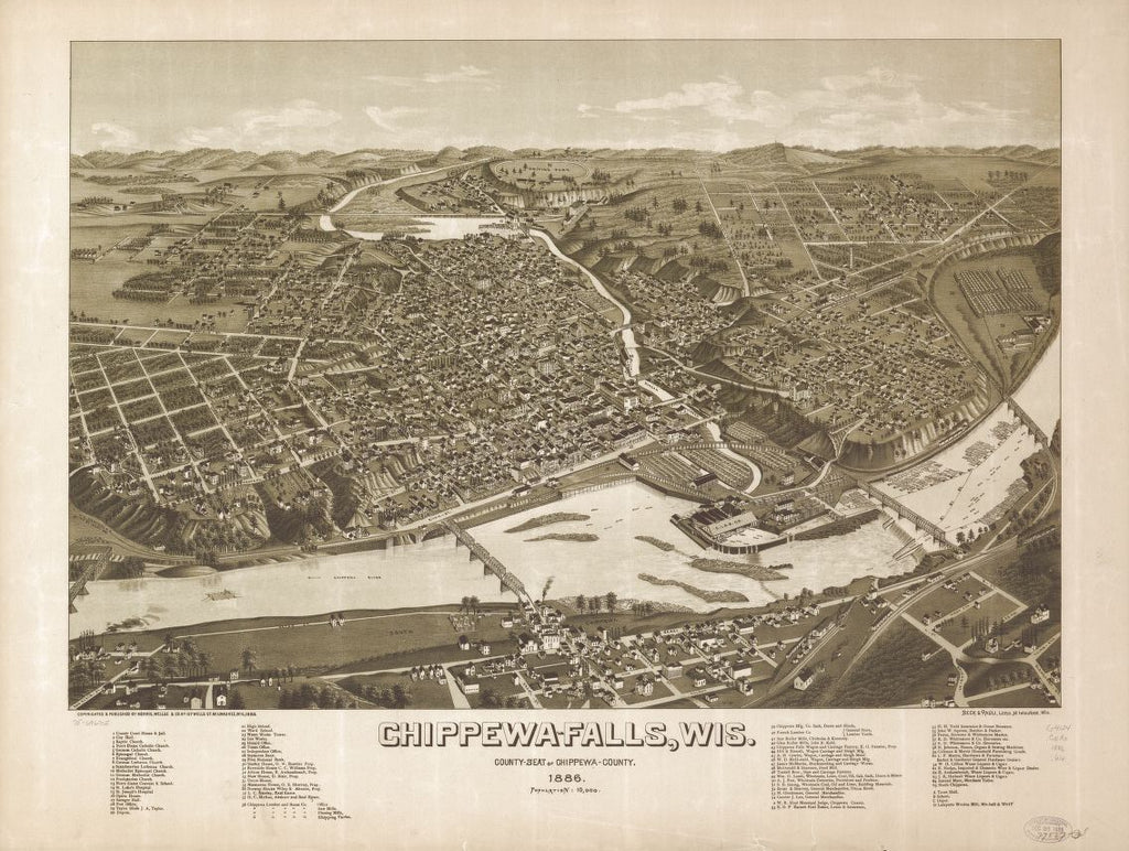8 x 12 Reproduced Photo of Vintage Old Perspective Birds Eye View Map or Drawing of: Chippewa-Falls, Wis., county-seat of Chippewa-County 1886. Wellge, H. (Henry) 1886