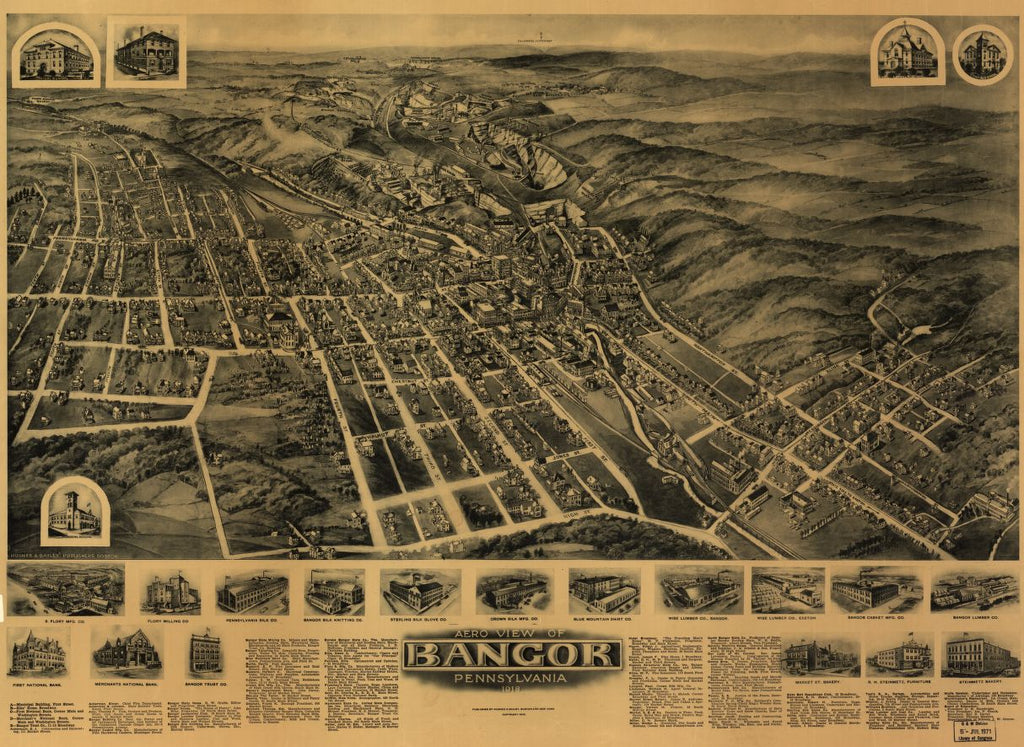 8 x 12 Reproduced Photo of Vintage Old Perspective Birds Eye View Map or Drawing of: Bangor, Pennsylvania 1918 Fowler, T. M. - Hughes & Bailey - Fowler, T. M. 1918