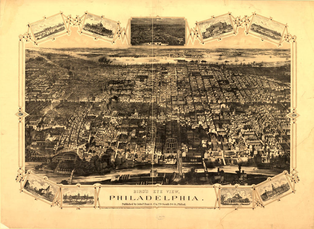 8 x 12 Reproduced Photo of Vintage Old Perspective Birds Eye View Map or Drawing of: view, Philadelphia / lith. by H.J. Toudy & Co., Philadelphia, Pa. H.J. Toudy & Co. 1876